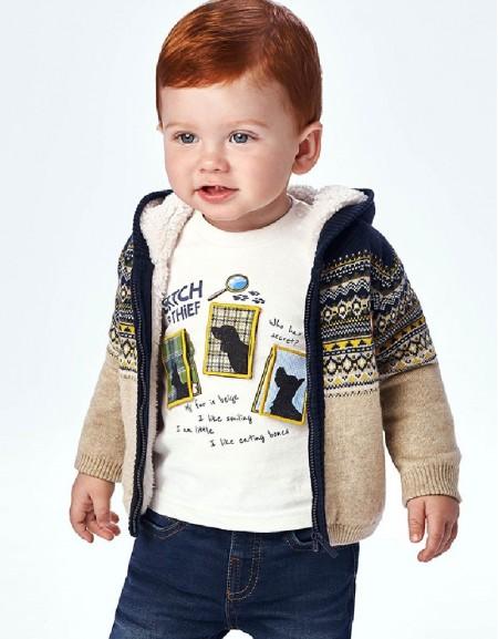 Brown Jacquard Knitting Pullover