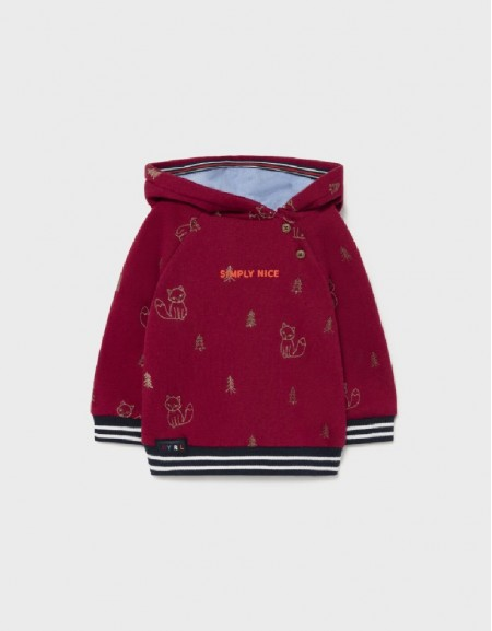 Bordeaux Embroidered Pullover W/Hoodie