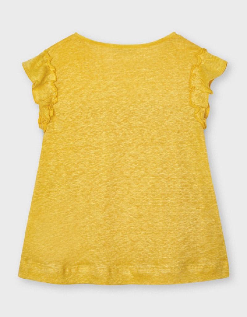 Mustard Short Sleeved Linen T-Shirt