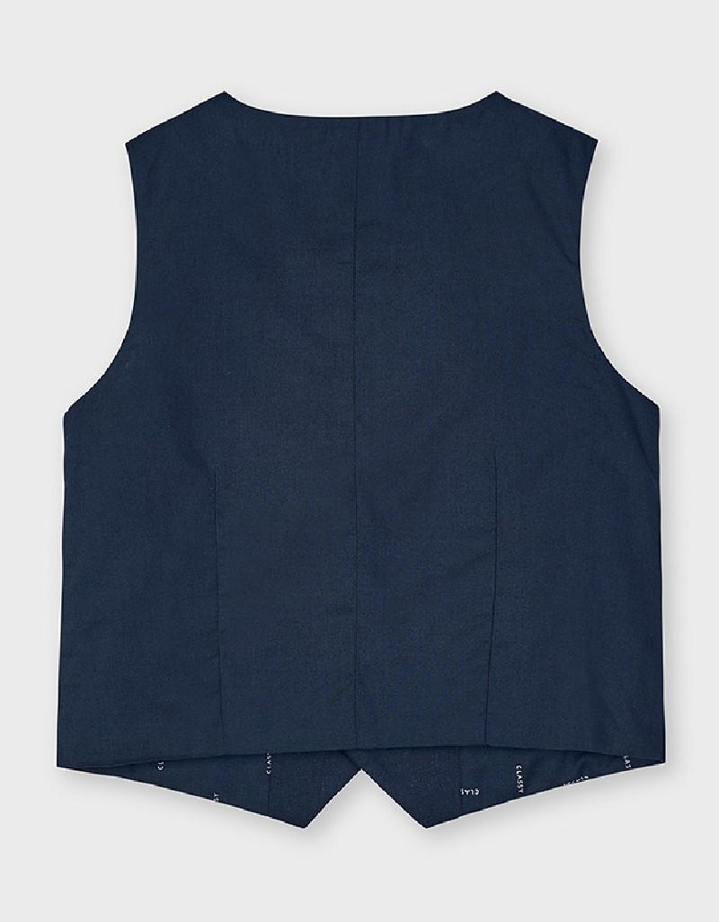 Navy Tailored Linen Vest
