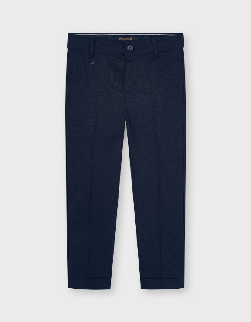 Navy Tailored Linen Trousers