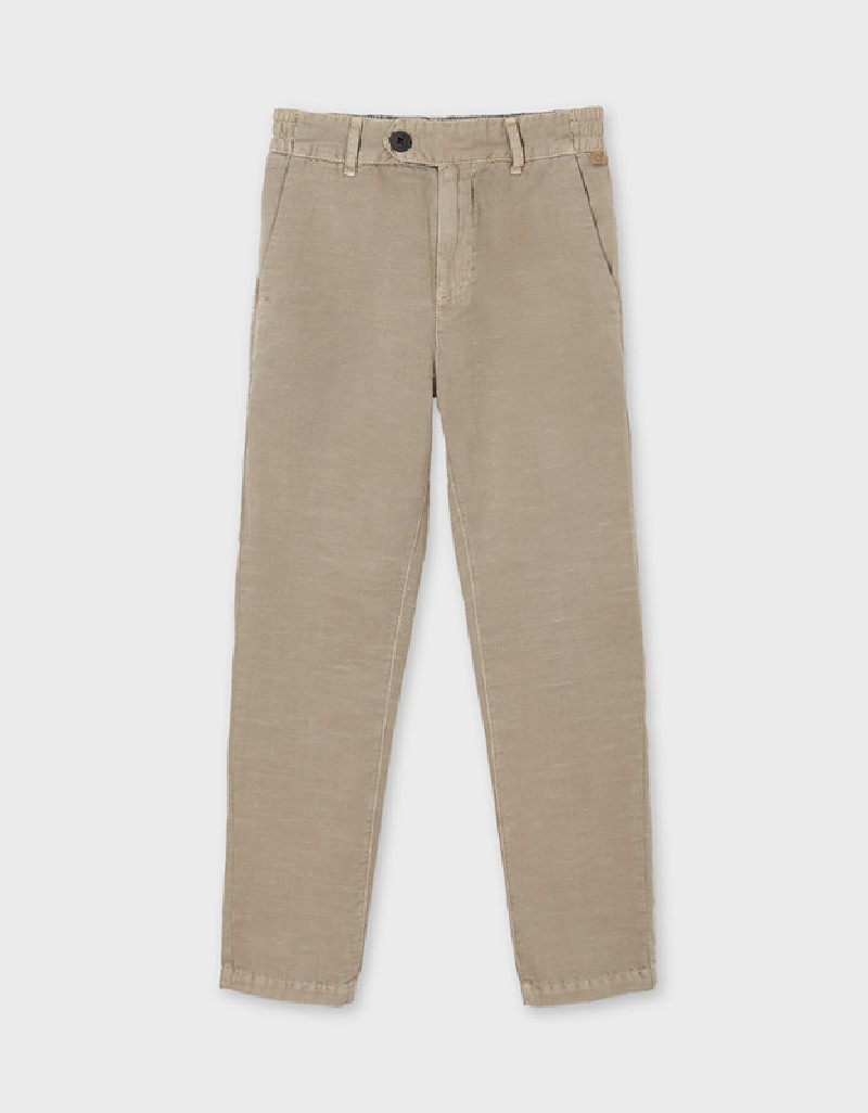 Sand Linen Tailored Trousers For Older