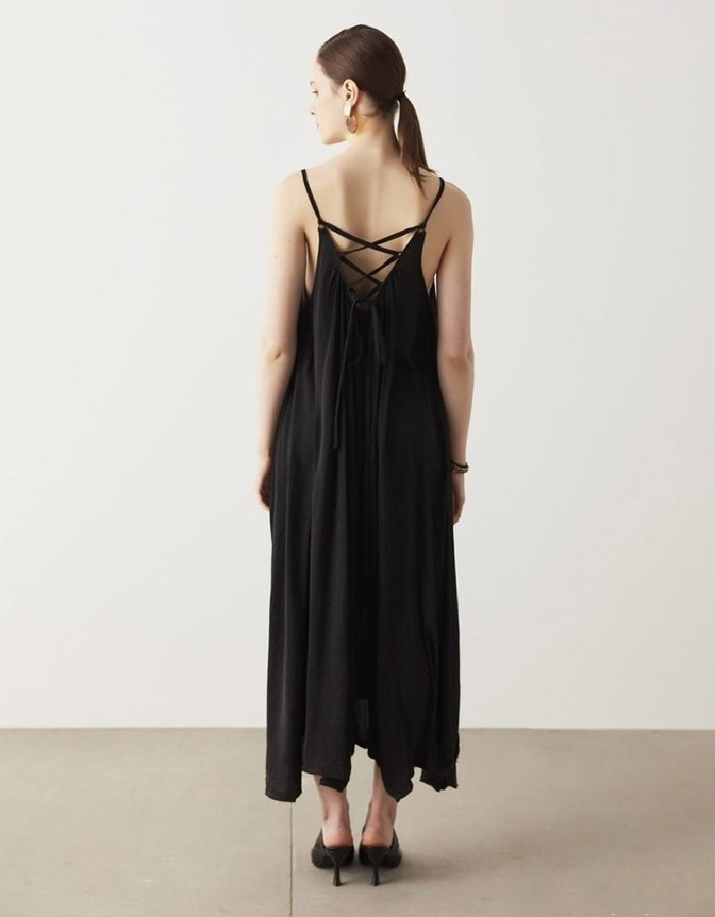 Black Strappy Satin Dress