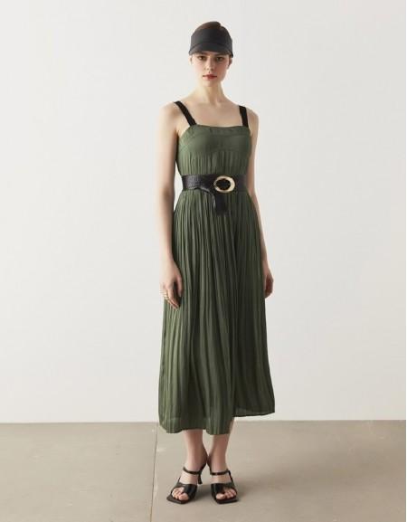 Khaki Contrast Strapped Dress