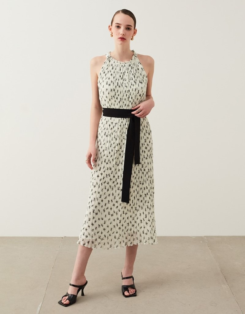 Off White Printed Pleated Dress