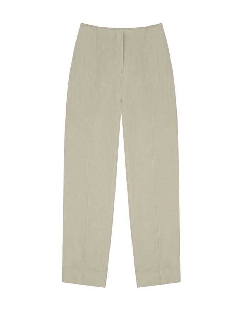 Khaki Hooked Closure Linen Trousers