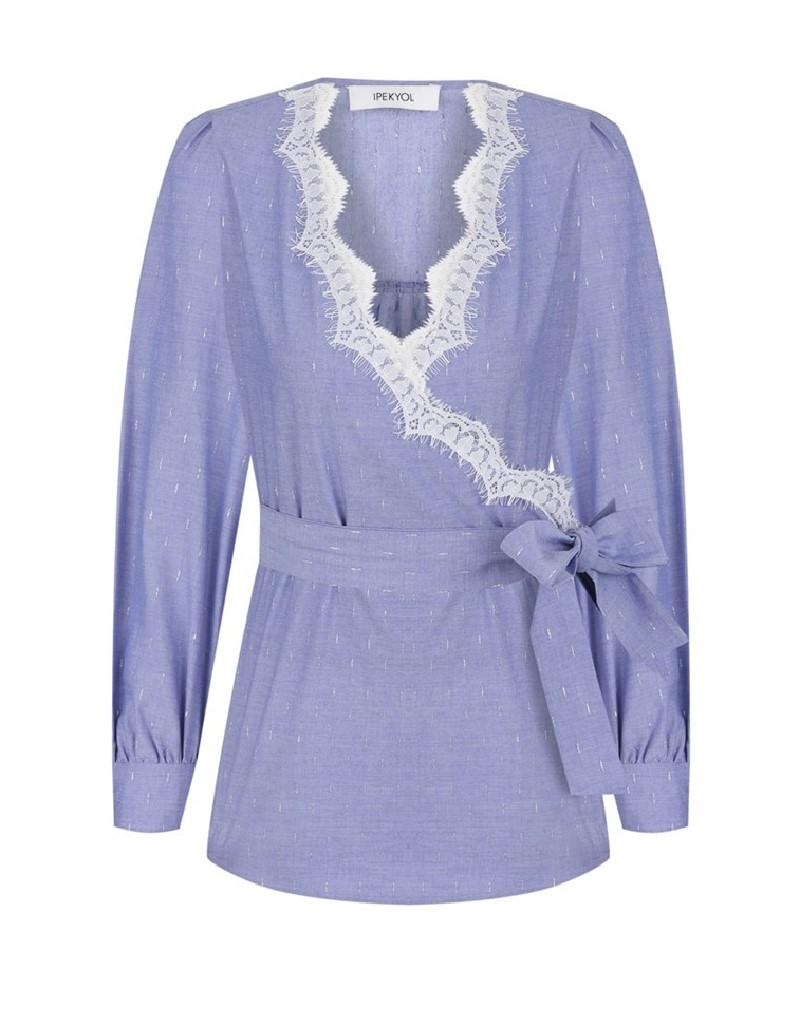 Blue Lace-Trimmed Blouse