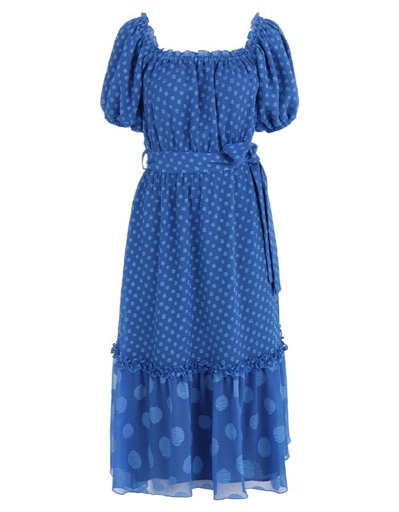 Blue Low Shoulder Dress