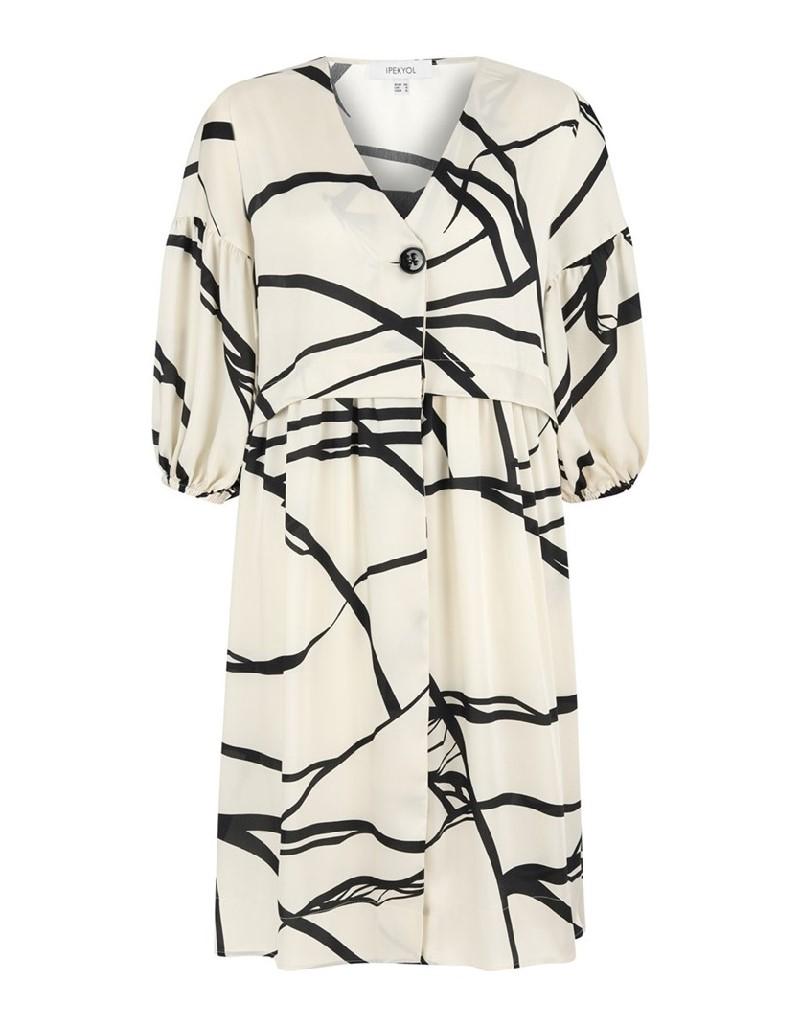 Oil Printed Beige Short Dress