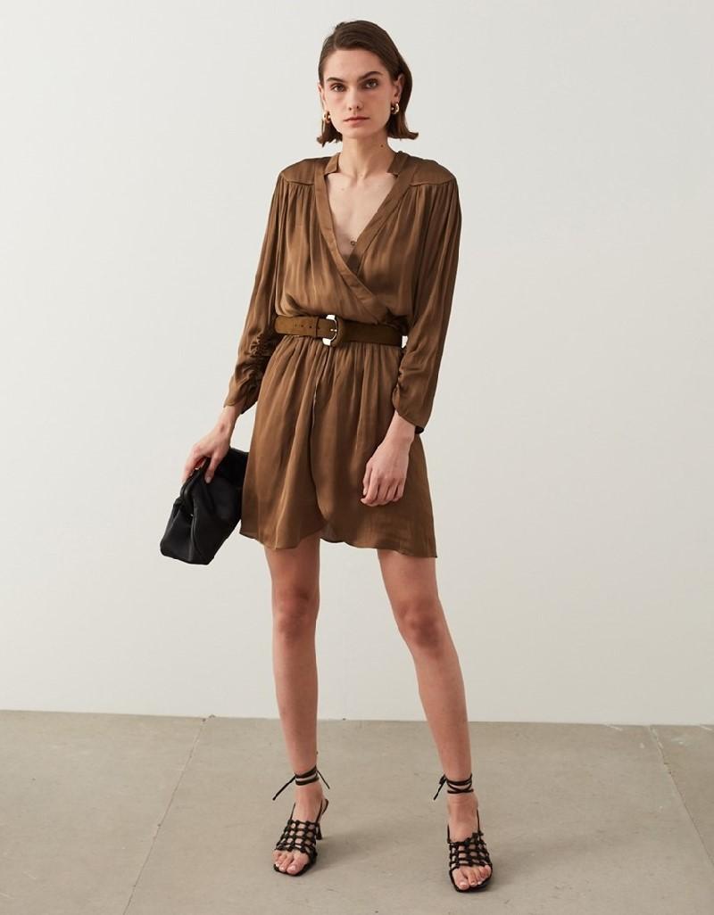 Olive Green Satin Textured Dress