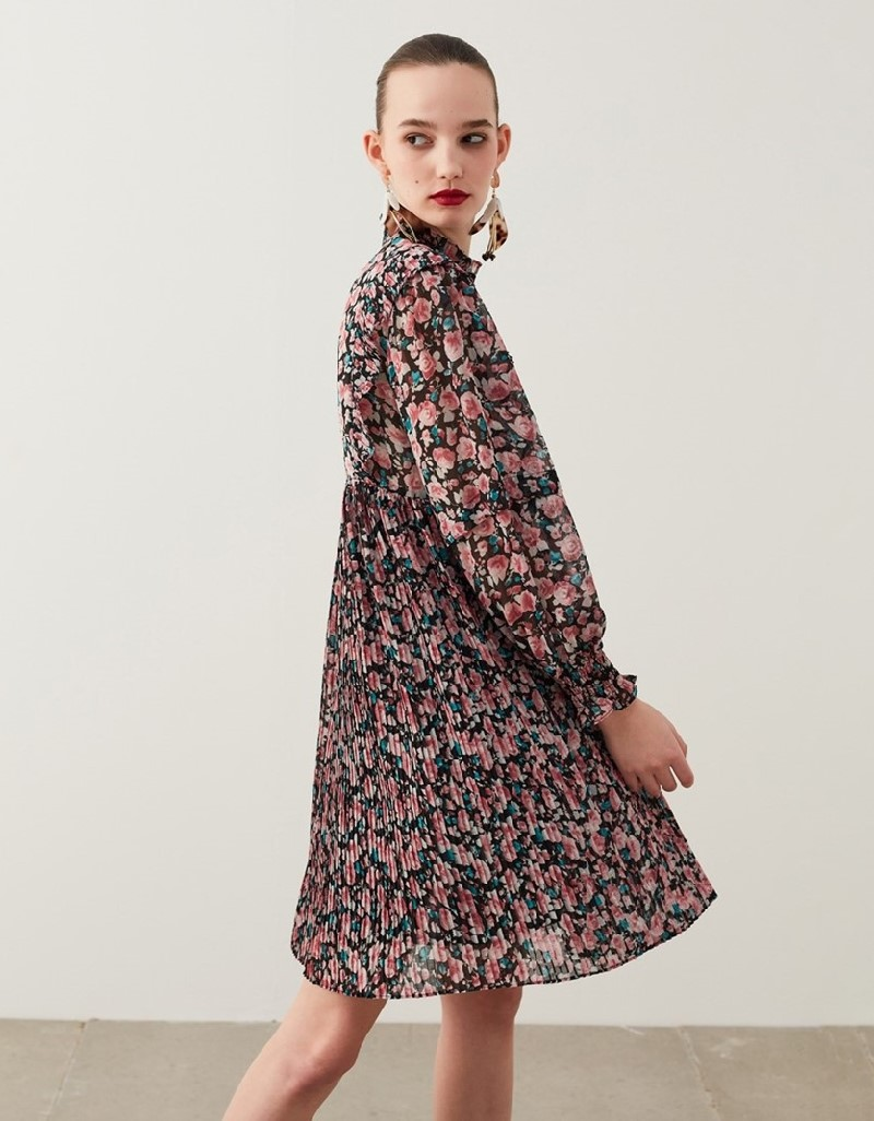 Old Rose Pleated Trapeze Dress