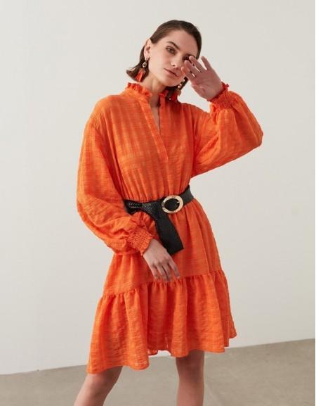 Orange Seersucker Textured Mini Dress
