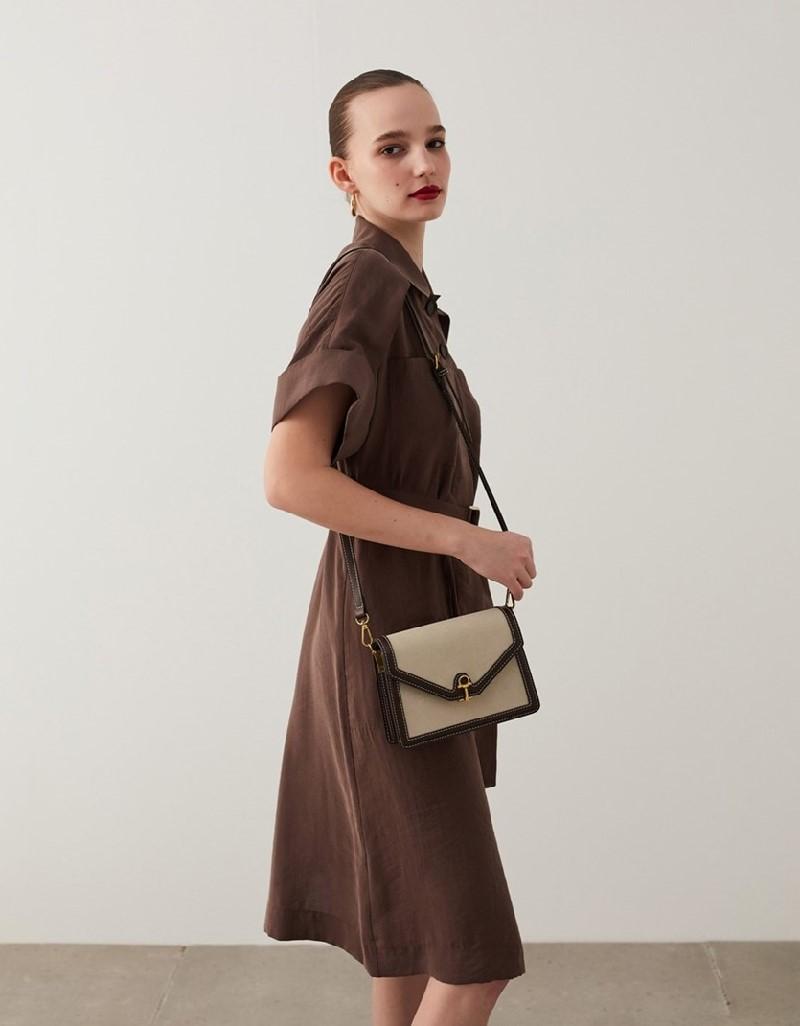 Brown Belted Shirt Dress