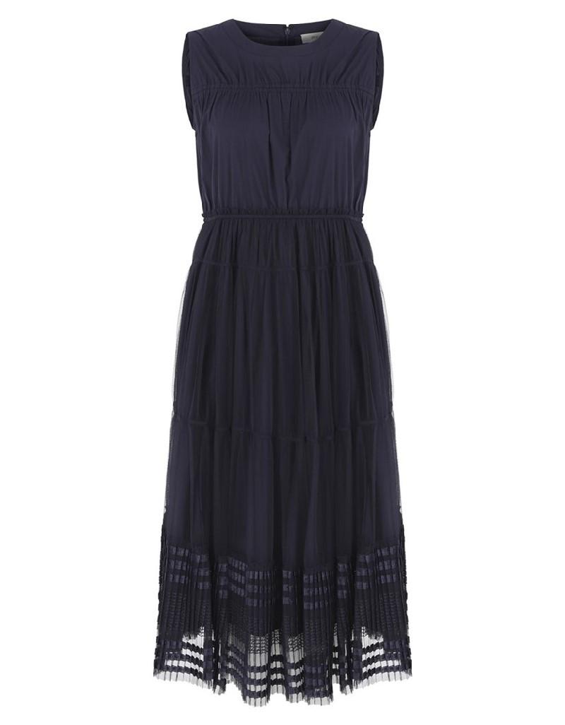 Navy Pleated Tulle Dress