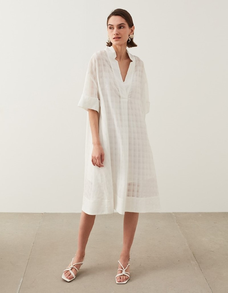 Off White Plaid Pattern Dress