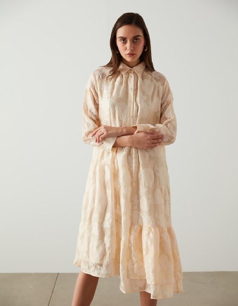 Cream Flowered Dress With Colar