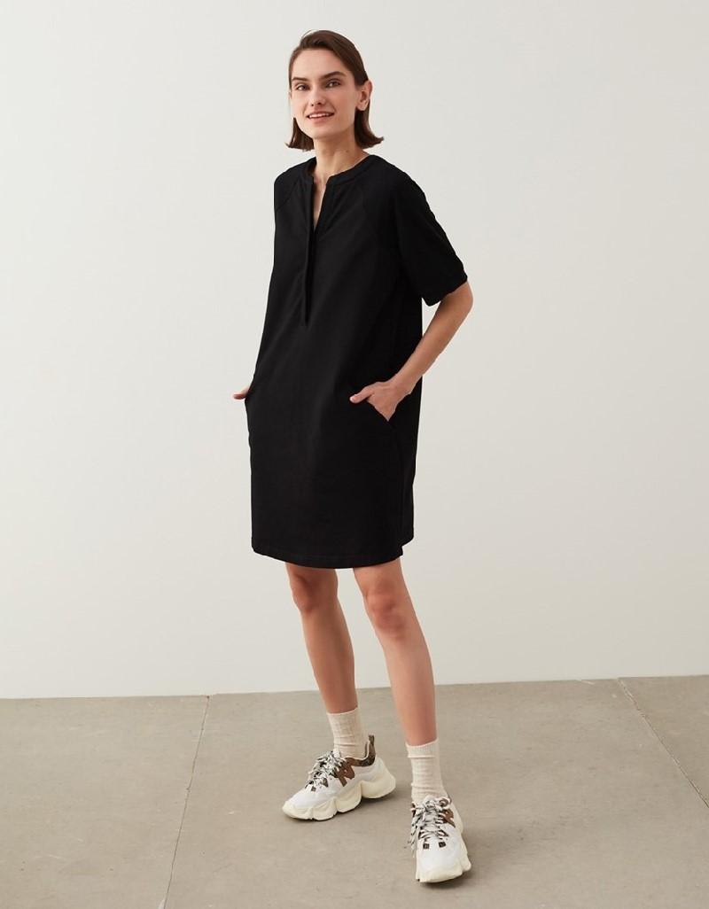 Black Piqué Mix Dress