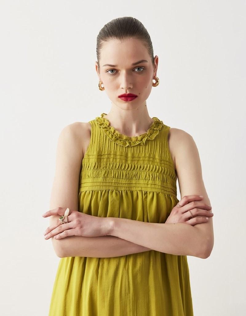Green Ribbed And Ruffled Dress