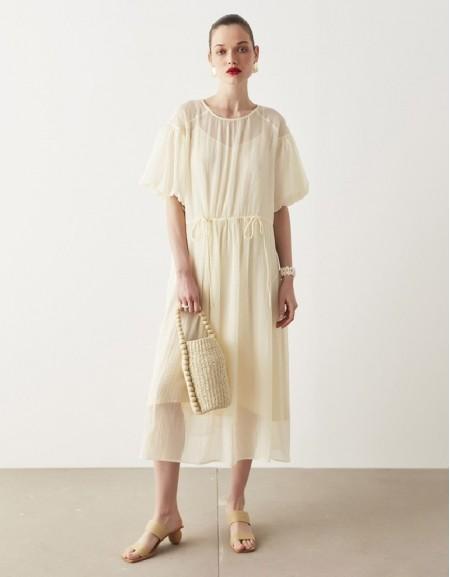 Oil Balloon Sleeve Dress