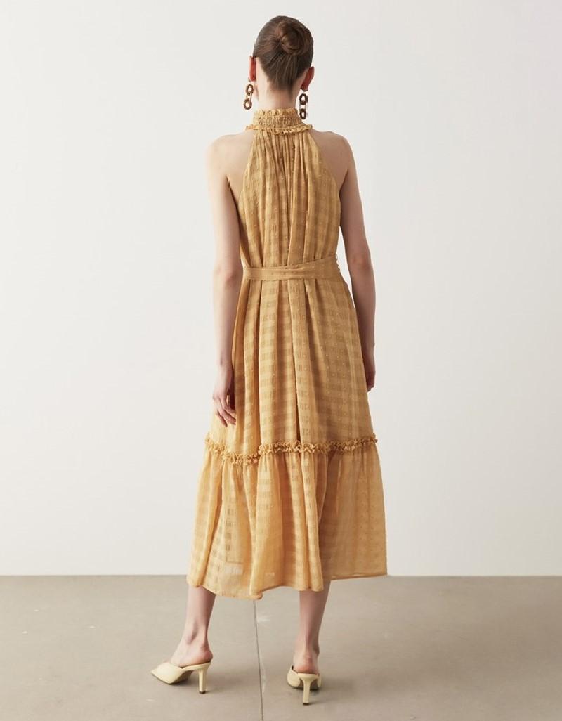 Melon Seersucker Textured Dress
