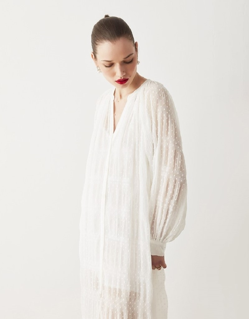 Off White Balloon Sleeve Dress