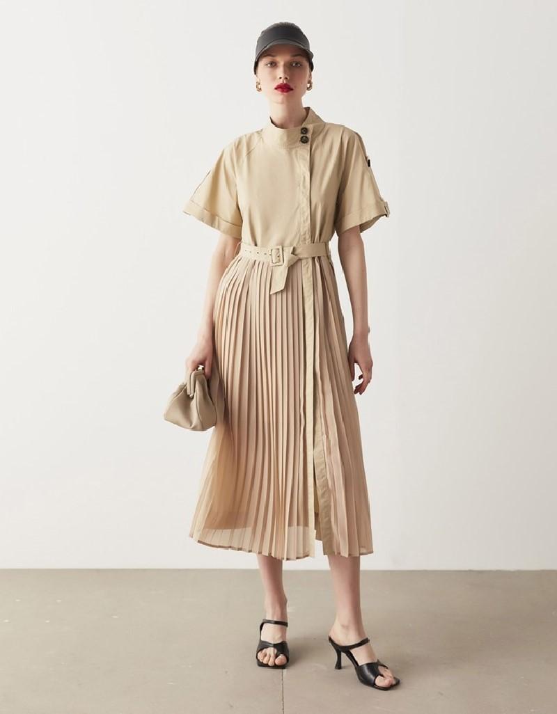 Natural Pleated Midi Dress