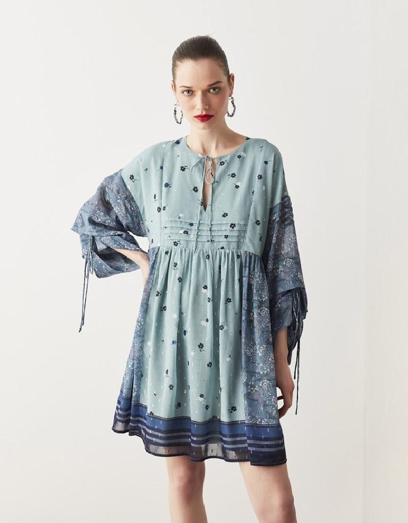 Sea Green Pattern Mix Dress