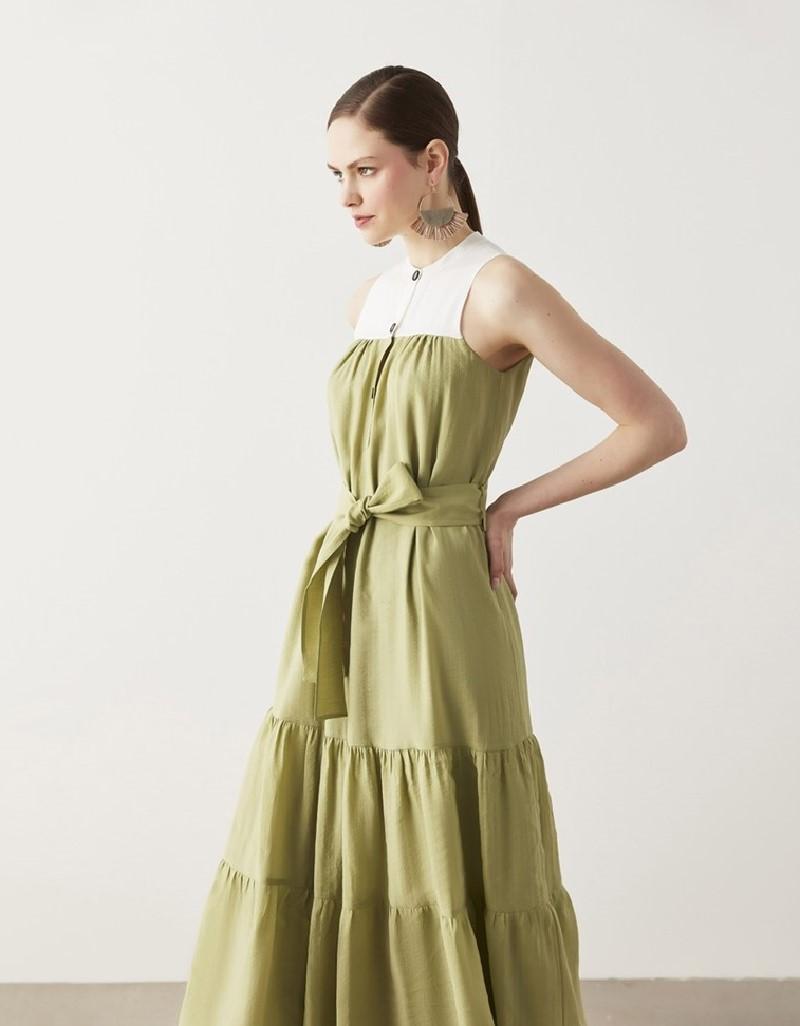 Green Belted Tencel ™ Dress