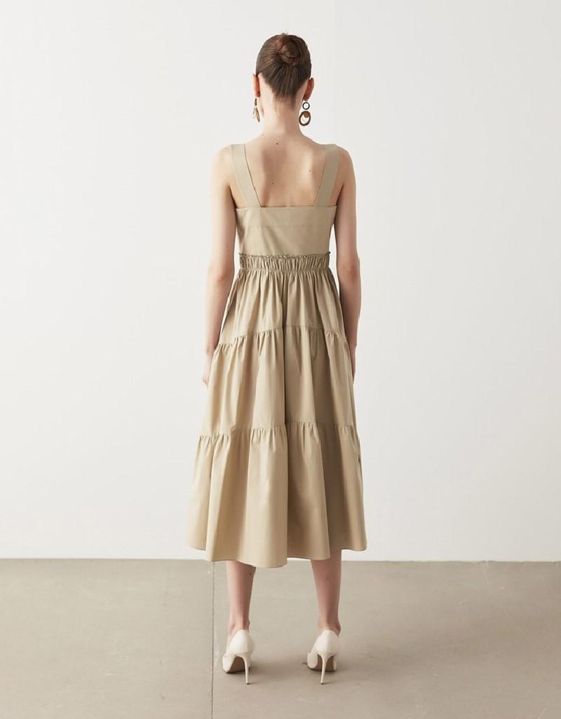 Mink Trapeze Poplin Dress