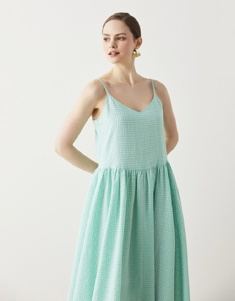 Green Strappy Linen Dress
