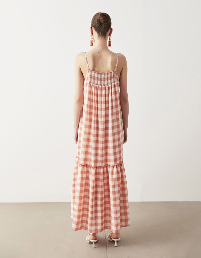 Orange Gingham Pattern Dress