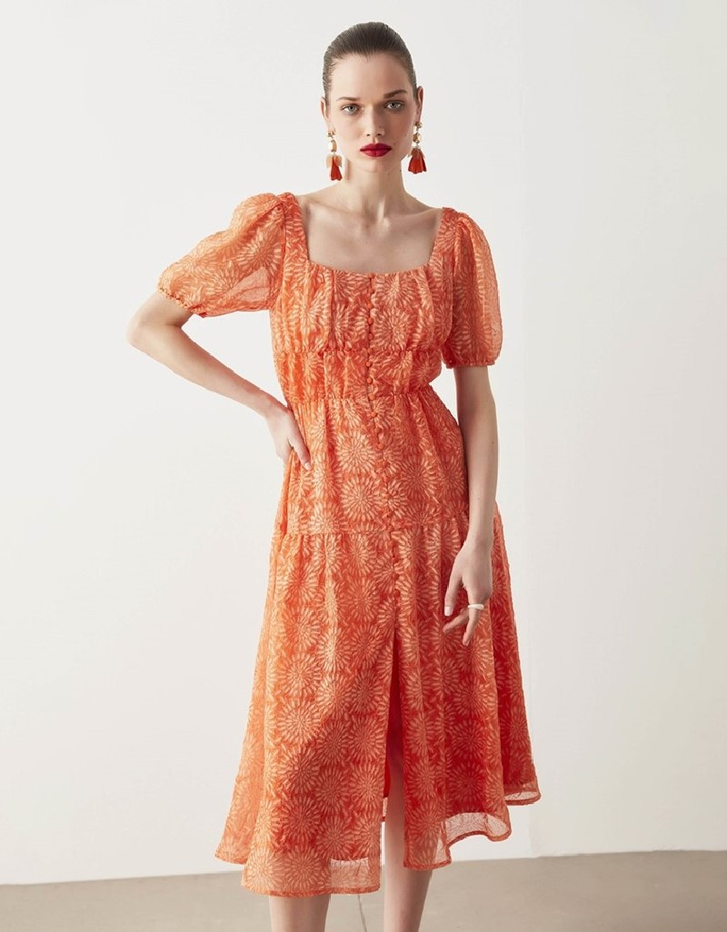 Orange Buttoned Maxi Dress