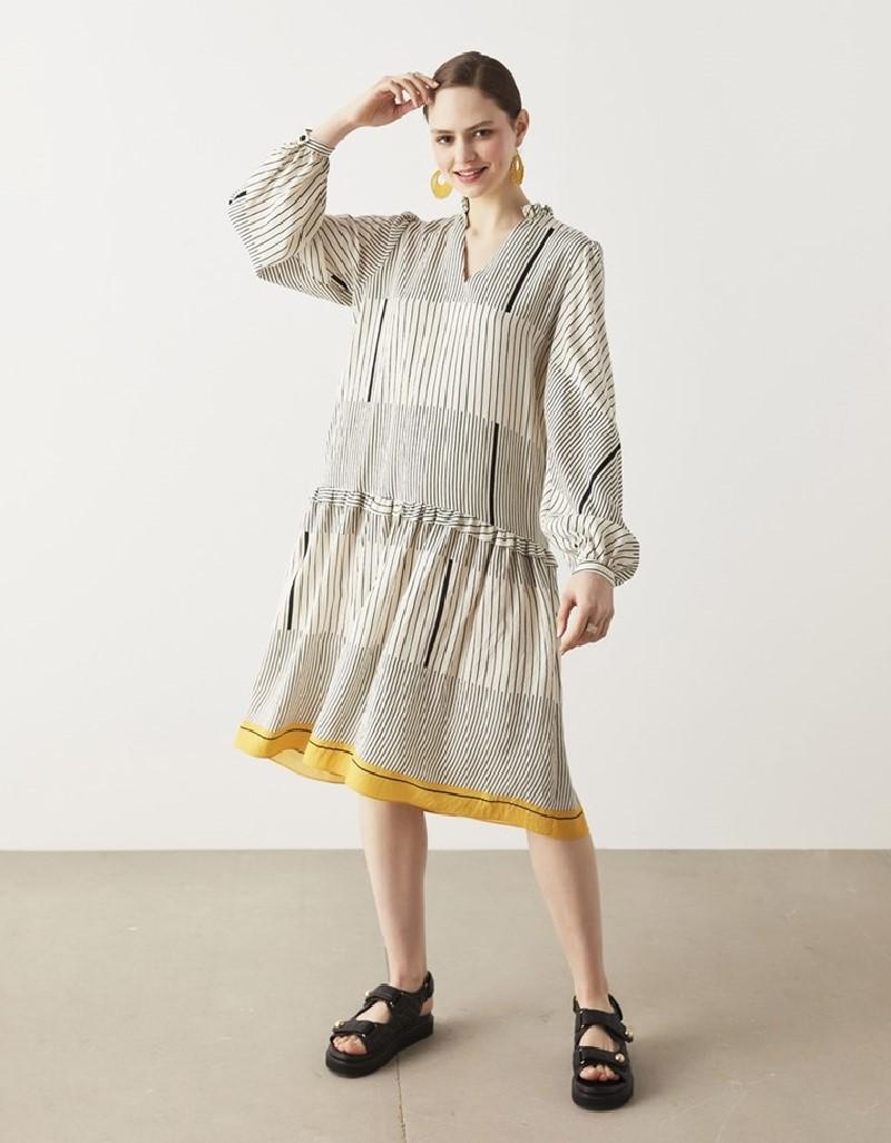 Black Striped Pattern Dress