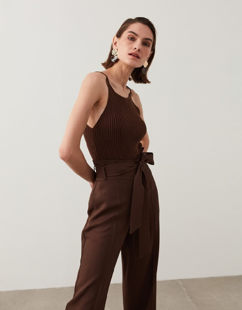 Brown Paperbag Fit Trousers