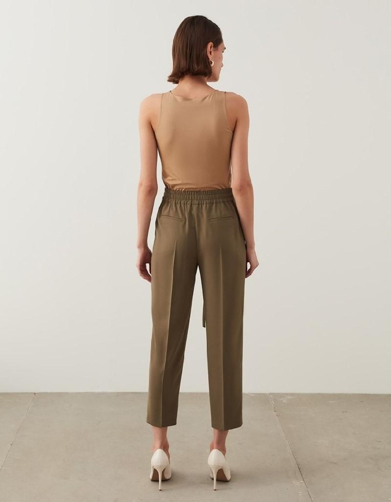 Khaki Drapey Fit Trousers