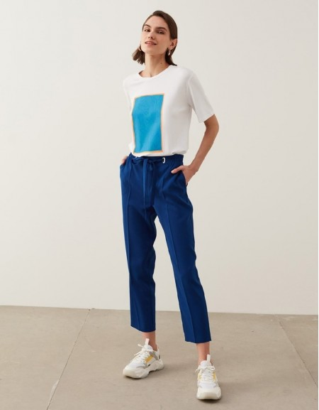 Blue Drapey Fit Trousers