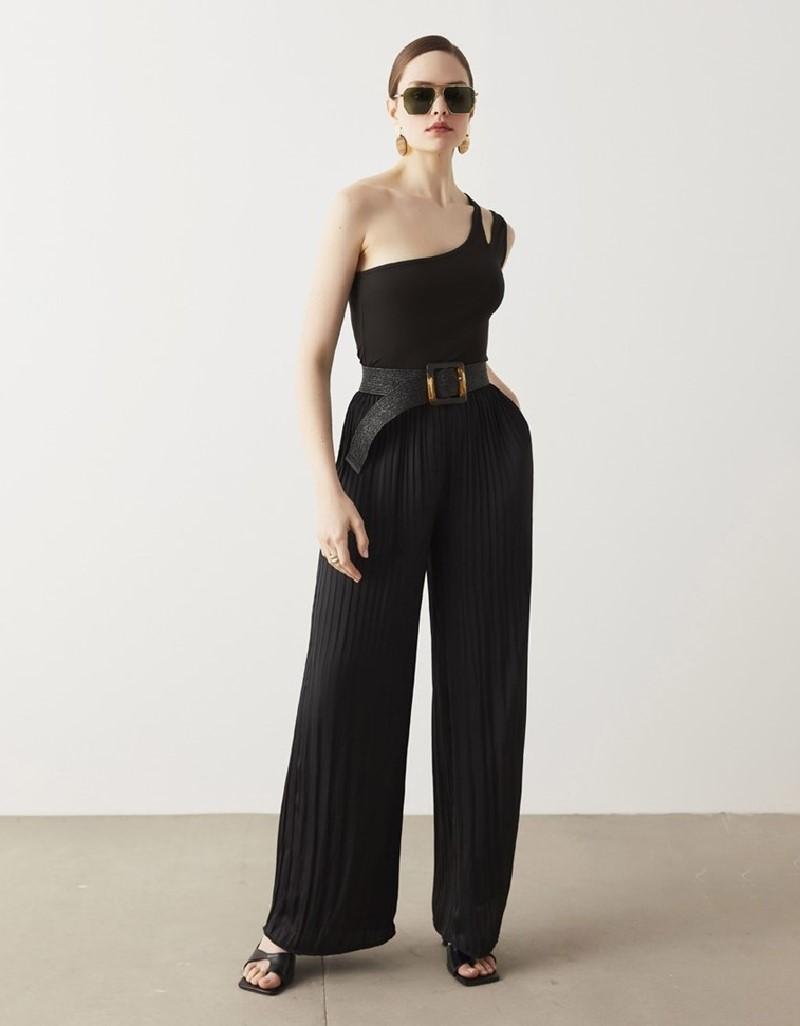 Black Pleated Satin Trousers