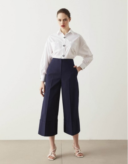 Navy Culotte Fit Trousers