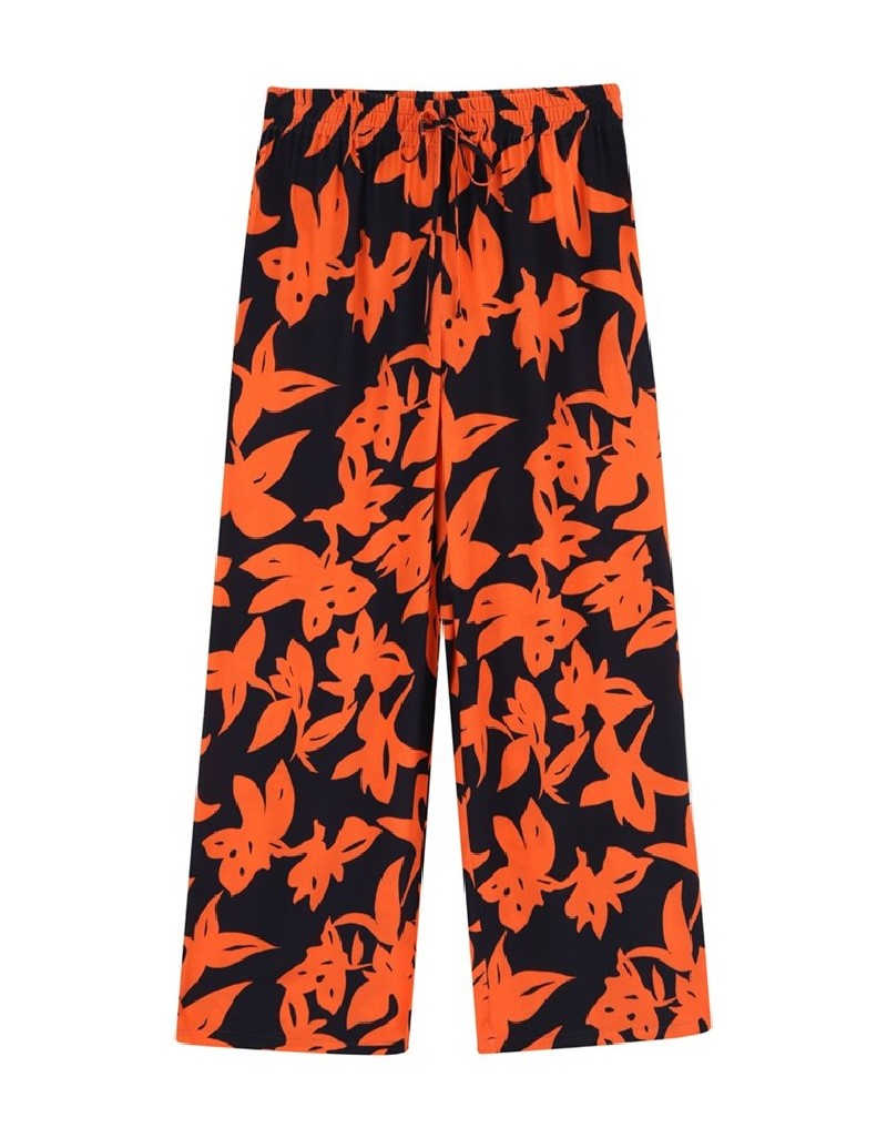 Black Floral Pattern Trousers