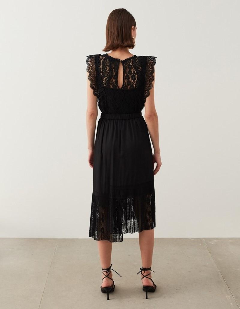 Black Lace-Trimmed Skirt