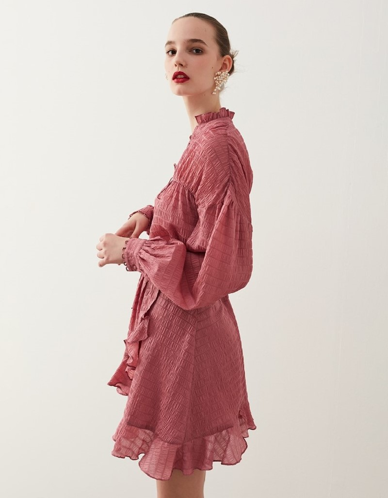 Old Rose Seersucker Skirt