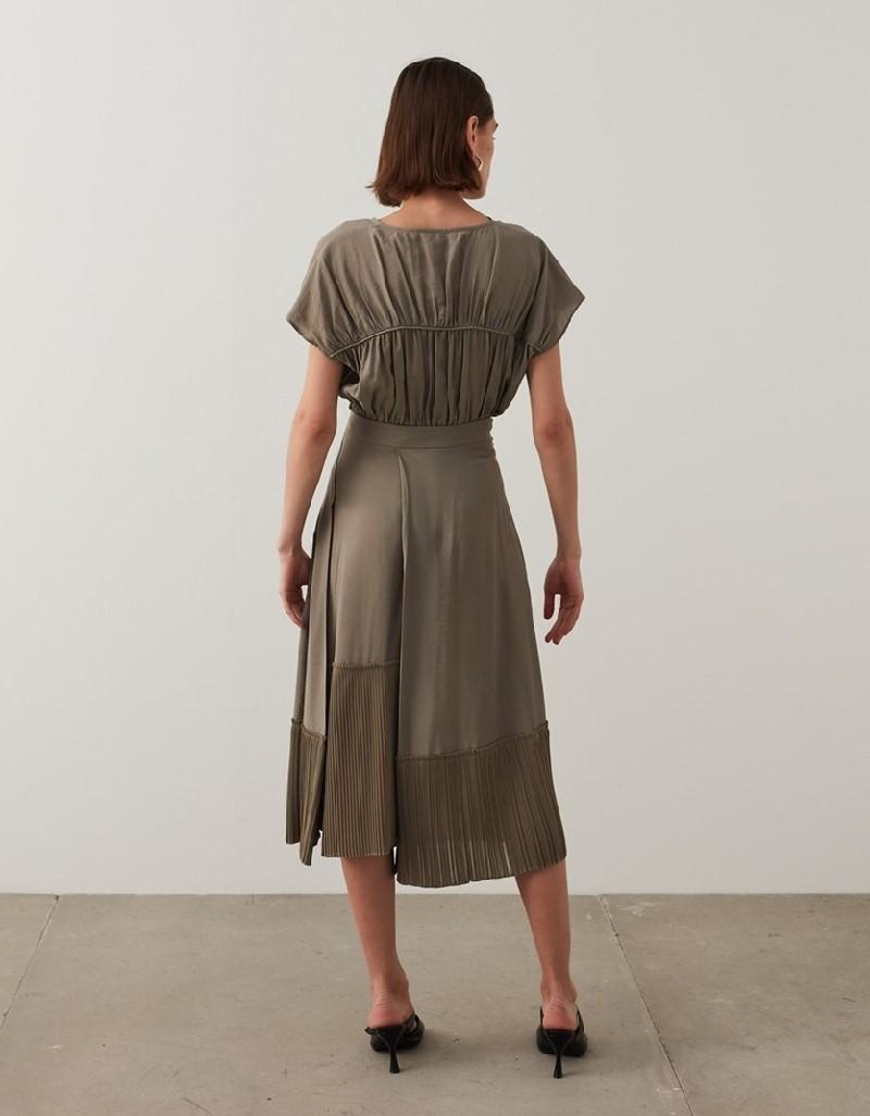 Mink Pleated Midi Skirt