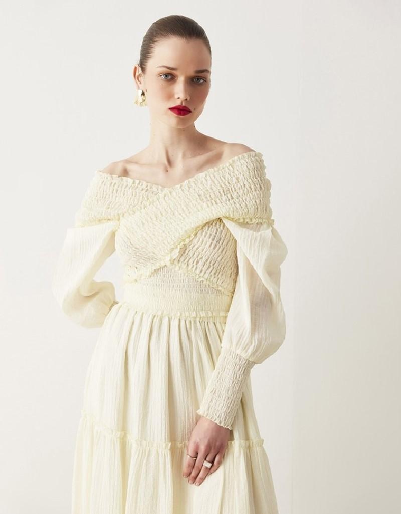 Oil Ruffle Striped Midi Skirt