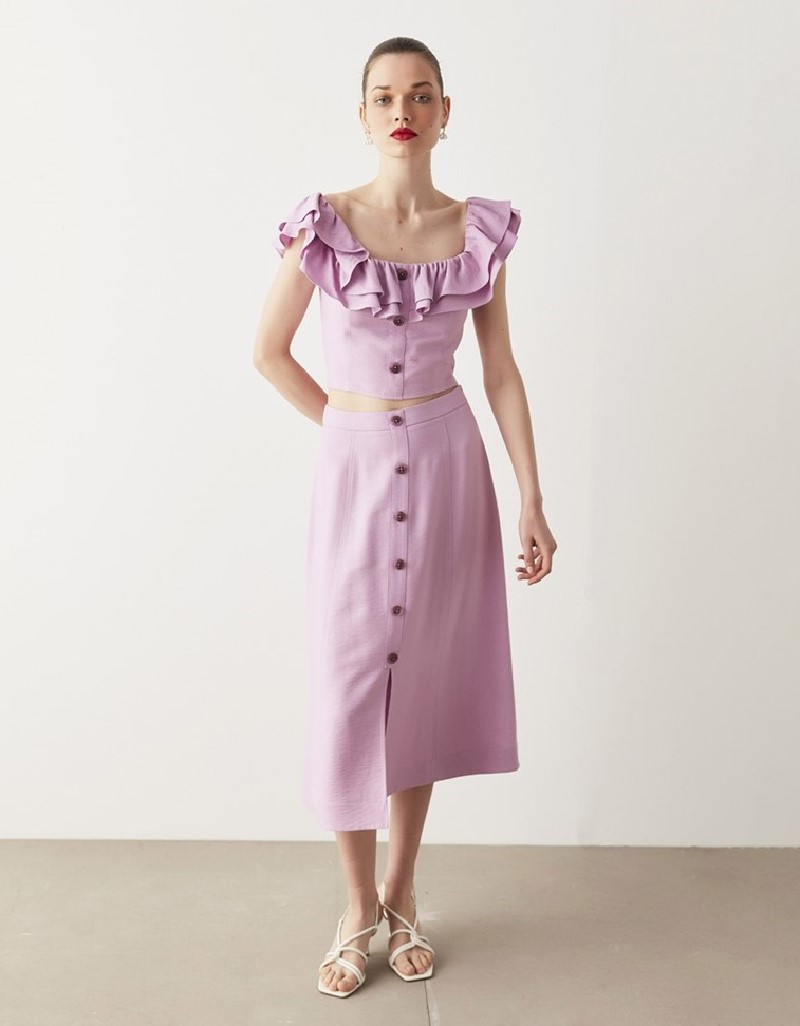 Pink Buttoned Accessorized Skirt