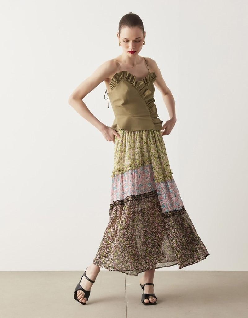 Ecru Floral Pattern Mix Skirt