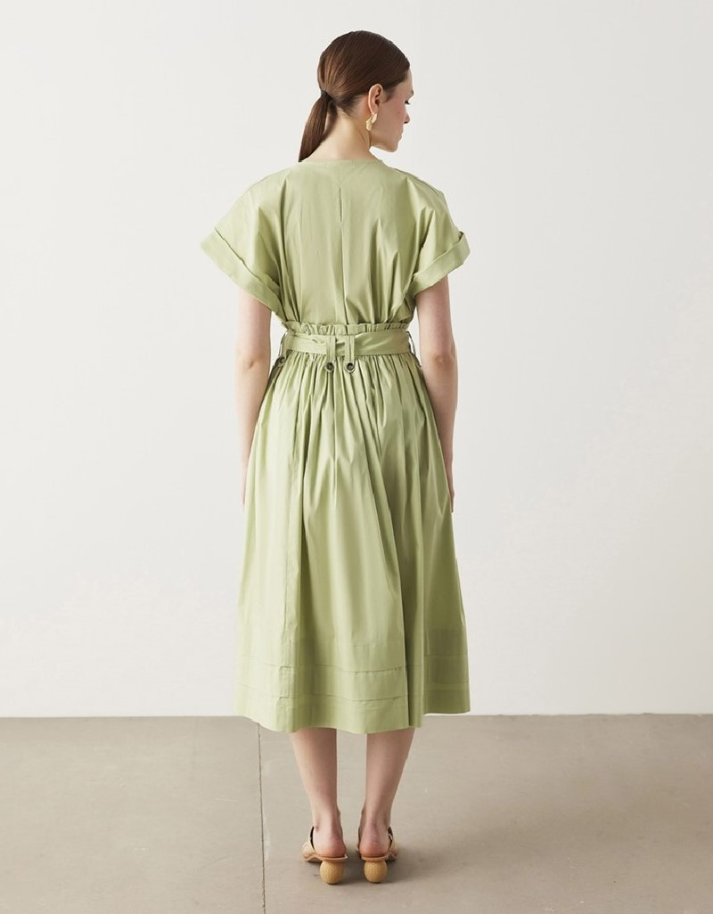 Green Belted Poplin Skirt