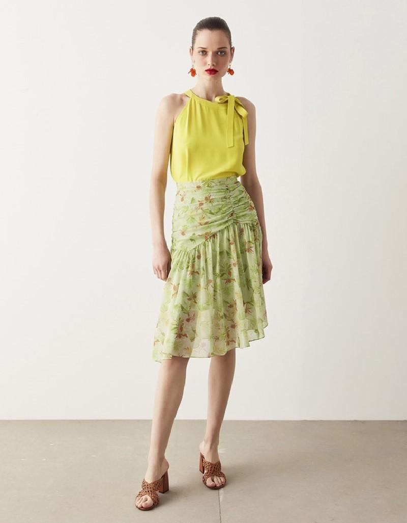 Green Floral Pattern Skirt