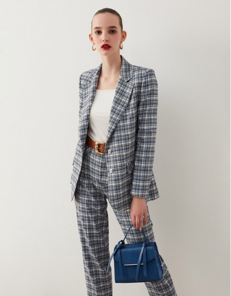 Blue Plaid Pattern Jacket