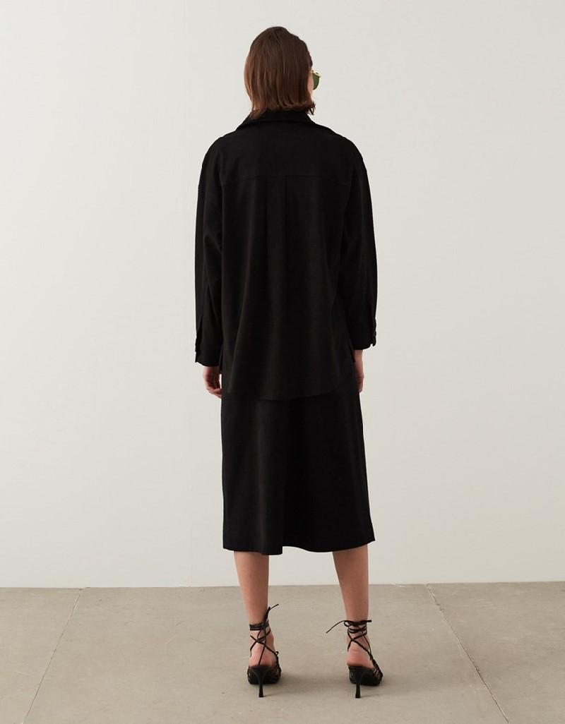 Black Suede Shirt Jacket