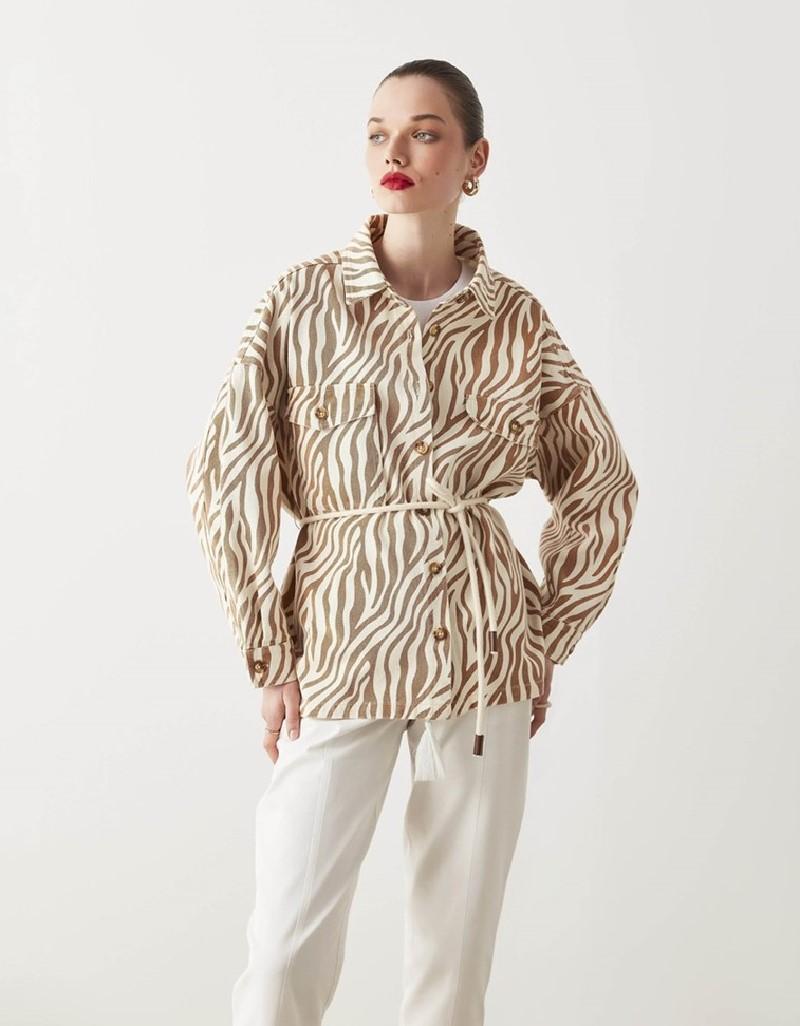 Beige Zebra Pattern Jacket
